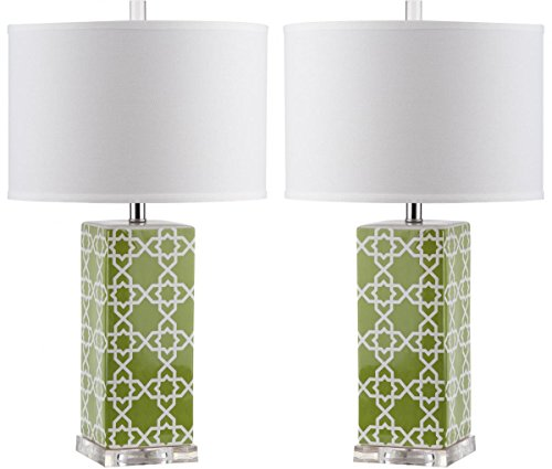 Safavieh Lighting Collection Quatrefoil Table Lamp Green
