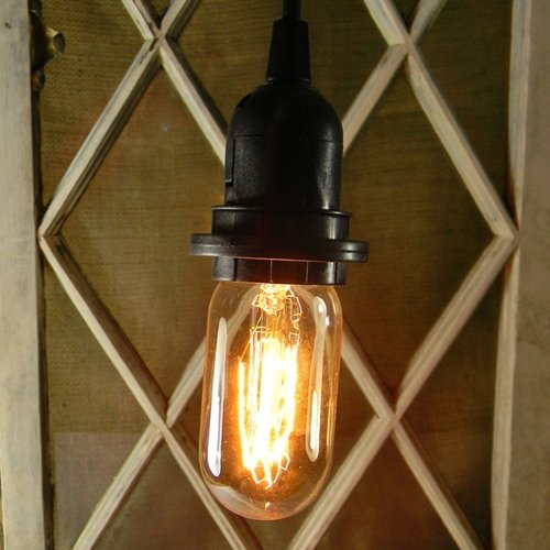 2 PACK Pendant Light With Antique Bulb 15 Foot Black Cord