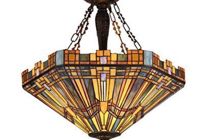 Chloe Lighting Ch36432ms24 Uh3 Tiffany Saxon Style 3 Light Mission Inverted Ceiling Pendant Fixture 24 Shade Multi