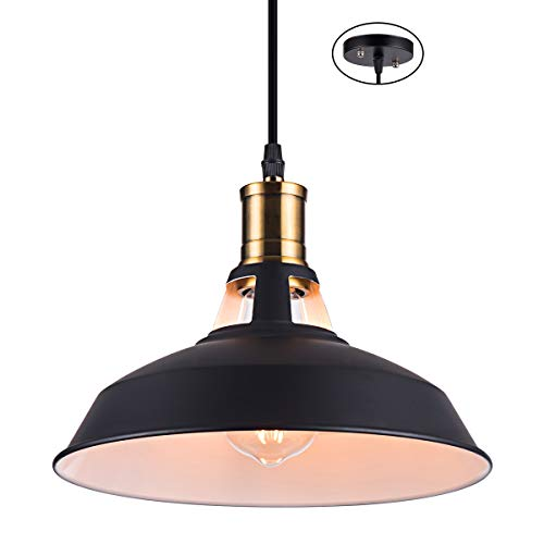 Interior Barn Lights: Metal Industrial Pendant Light With White Interior